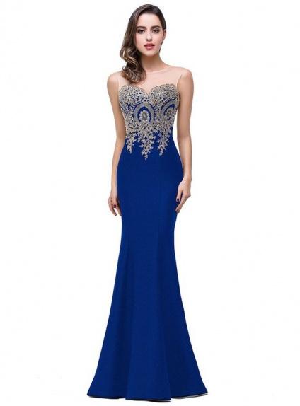 7af8983a8859 Abito da Cerimonia blu a Sirena con ricami dorati