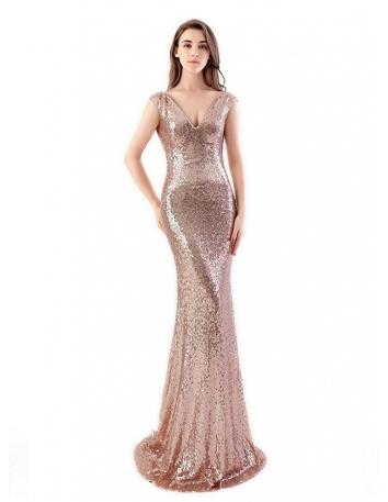 Mermaid Court train Sequins V-neck Wedding Party Dress