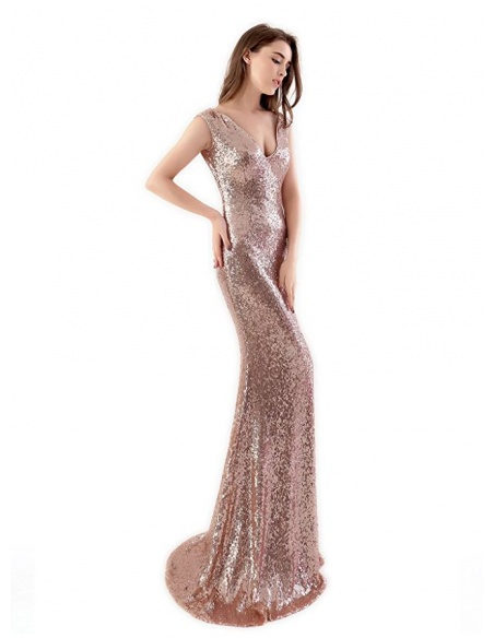 Mermaid Court train Sequins V-neck Wedding Party Dress