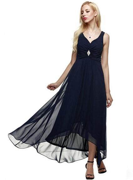 Bridesmaid A-line Ankle length Chiffon V-neck Wedding Party Dress