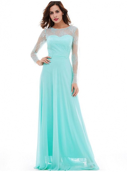 Bridesmaid A-line Court train Chiffon Lace Low round/Scooped neck Wedding Party Dress