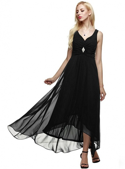Bridesmaid A-line Ankle length Chiffon V-neck Wedding Party Dress