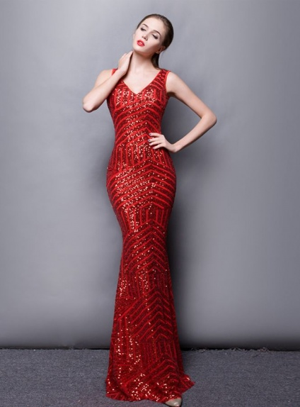 Abito a Sirena da sera con paillettes rosso
