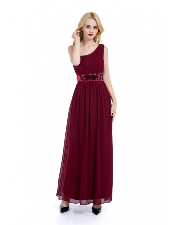 Bridesmaid A-line Ankle length Chiffon One shoulder Wedding Party Dress