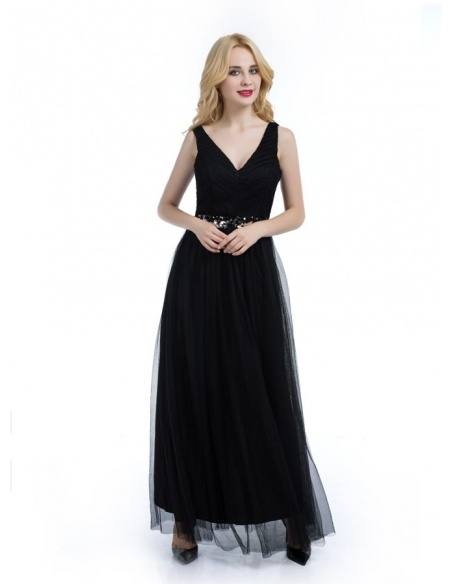 Bridesmaid A-line Ankle length Tulle V-neck Wedding Party Dress