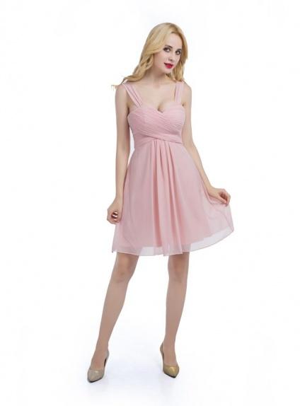 designer fashion 0f7ea 1f3a2 Vestito corto per damigella rosa cipria online