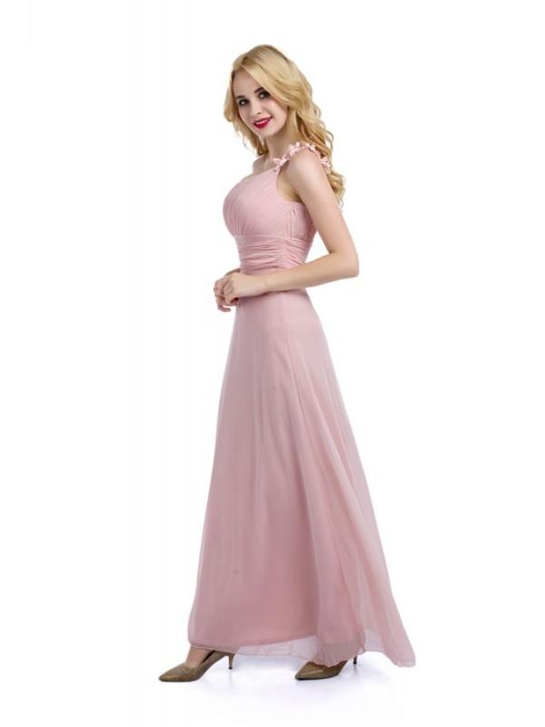 Vestiti Lunghi Rosa Cipria ~ Vestito lungo da cerimonia monospalla rosa  cipria e9ff3a39be7