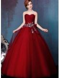 A-line Ball gown Floor length Tulle Sweetheart Wedding dress