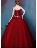 Abito da Sposa online economico colorato rosso elegante con gonna brillantinata