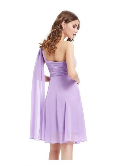 Bridesmaid A-line Knee length Chiffon One shoulder Wedding Party Dress