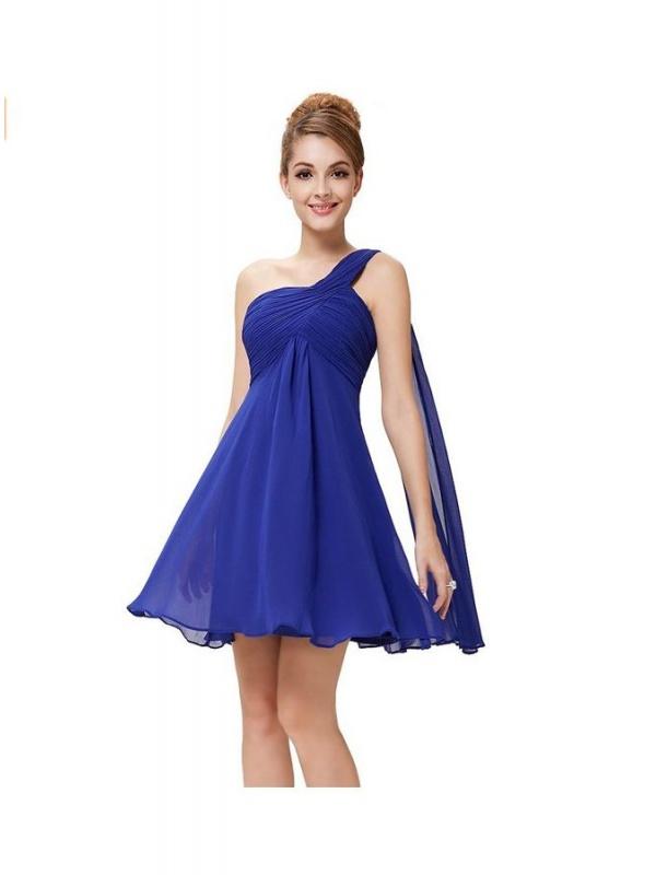 02d764e92bcf Vestito da Cerimonia corto economico online per damigelle blu elettrico ...