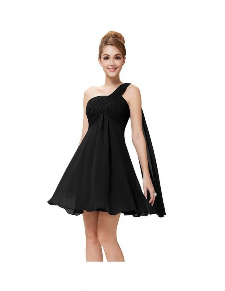Bridesmaid A-line Knee length Chiffon One shoulder Wedding Party Dress