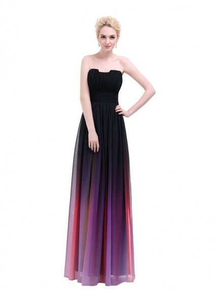 Bridesmaid A-line Floor length Chiffon Strapless Wedding Party Dress