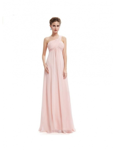 Bridesmaid A-line Floor length Chiffon One shoulder Wedding Party Dress