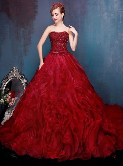 Famoso Abito da sposa principesco rosso scuro elegante disponibile in PX77