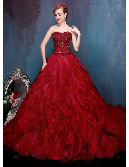 Abito da sposa principesco rosso scuro elegante disponibile in tutti i colori