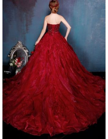 93f105238f1f ... Abito da sposa principesco rosso scuro elegante disponibile in tutti i  colori 2