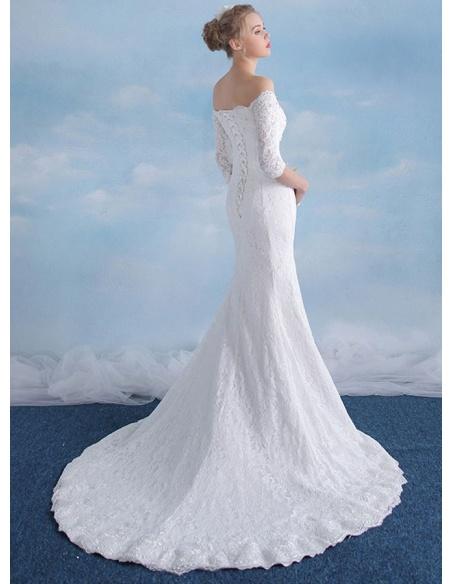 Mermaid Off the shoulder Chapel train Lace Wedding dress