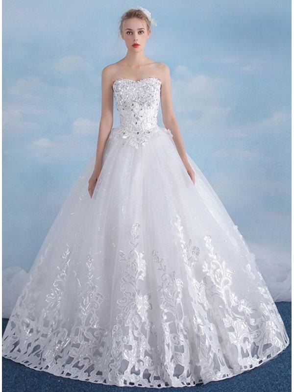 A Line Sweetheart Floor Length Tulle Wedding Dress