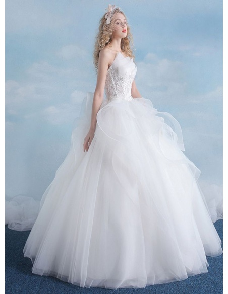 A-line Ball gown Floor length Tulle Lace Strapless Wedding dress