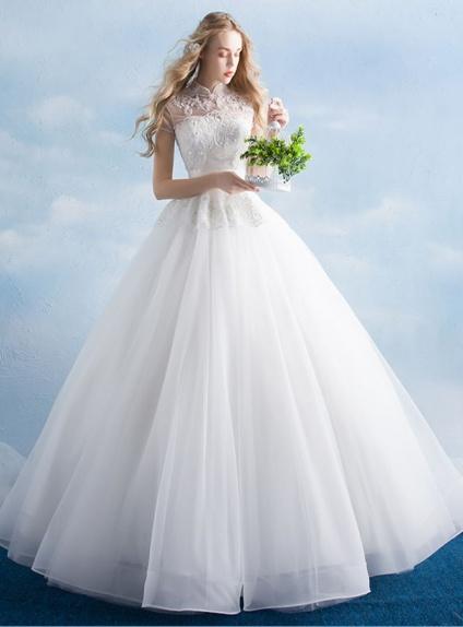 Abito da Sposa principesco bianco con colletto coreano