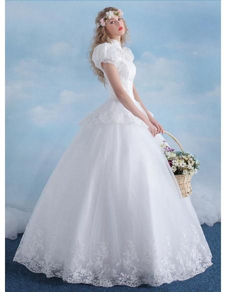 A-line Ball gown Floor length Tulle High round/Slash neck Wedding dress
