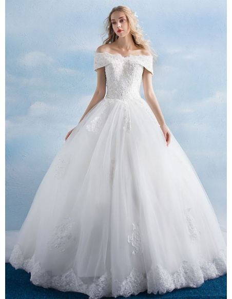 A-line Ball gown Floor length Tulle Lace Wedding dress