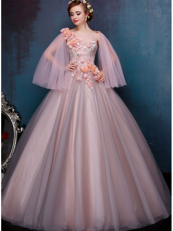 Abiti Da Sera Anni 80.A Line Chapel Train Tulle One Shoulder Wedding Dress