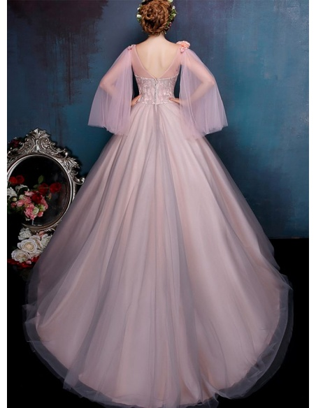A-line Chapel train Tulle One shoulder Wedding dress