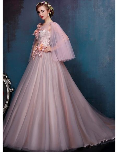 Robe de mariée jupe trapèze en tulle corsage mono épaule modèle Miamastore