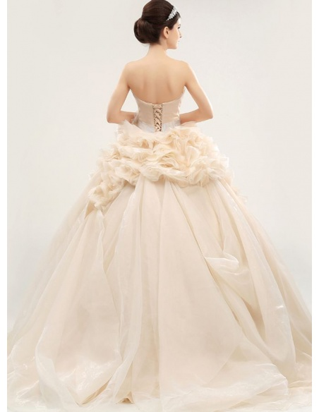 A-line Strapless Chapel train Organza Wedding dress