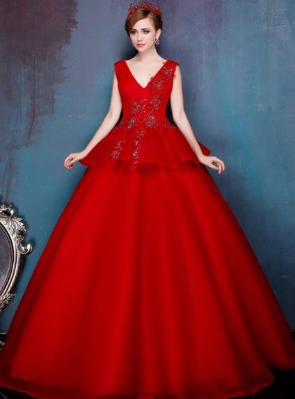 more photos fb863 dc92e Vestito da Sposa Rosso Principesco elegante economico online