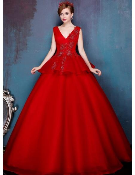 A-line Ball gown Floor length Tulle V-neck Wedding dress