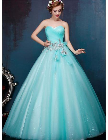 Abito da Sposa azzurro colorato principesco  con gonna glitterata in tulle