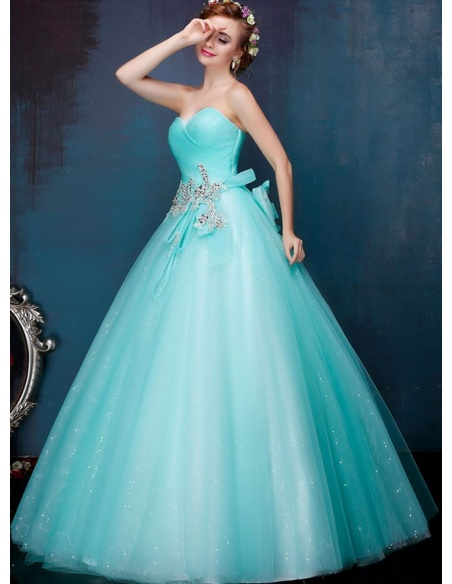 A-line Ball gown Floor length Tulle Sweetheart Wedding dress