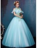 Abito da Sposa Vintage Colorato economico con fiori di tessuto e gonna ampia