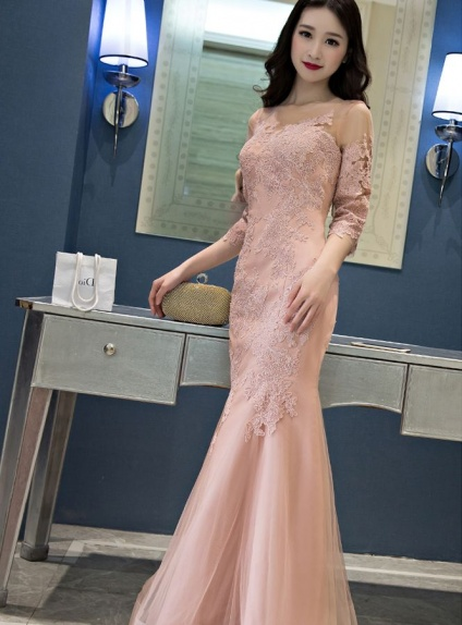 Evening dresses Trumpet/Mermaid Floor length Lace Tulle Low round/Scooped neck Occasion dress