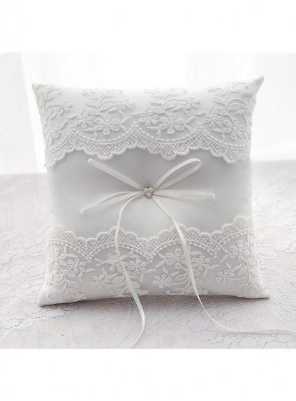 Cuscino Portafedi con merletto di pizzo matrimoniale