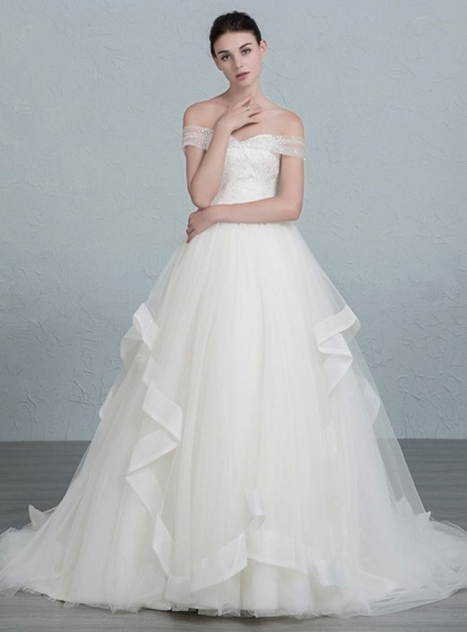 A-line Off the shoulder Chapel train Tulle Lace Wedding dress