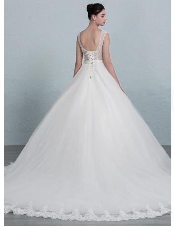 67097770a531 ... A-line Sweetheart Chapel train Tulle Wedding dress 2