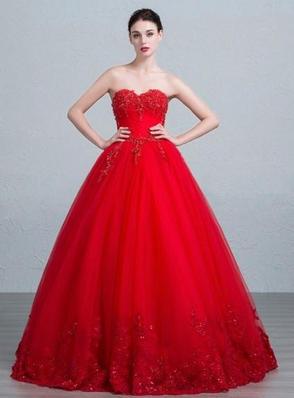 A-line Sweetheart Floor length Tulle Wedding dress