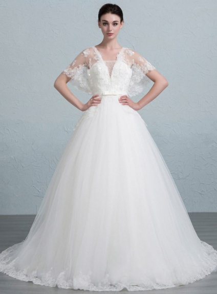 A-line Chapel train Tulle Asymmetrical Wedding dress