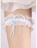 Giarrettiera Sposa bianca con fiocchetto azzurro