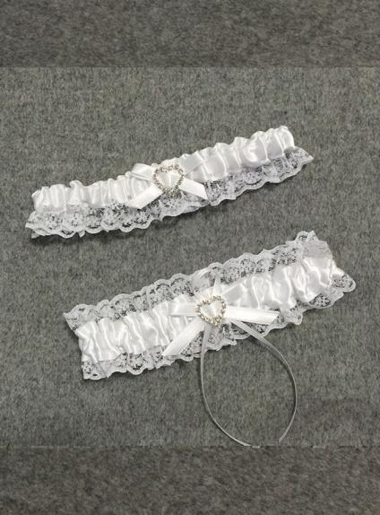 Giarrettiera Sposa due pezzi con merlettino e strass