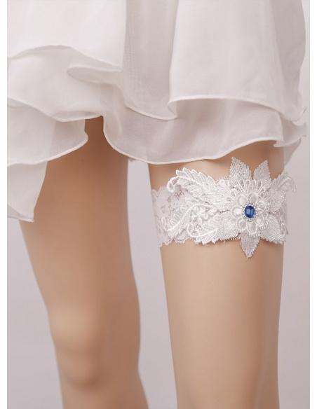 Giarrettiera da Sposa bianca con strass blu