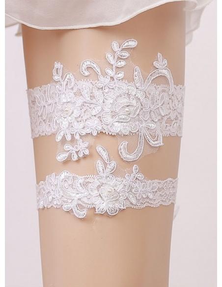 Giarrettiera Sposa bianca in Pizzo due pezzi