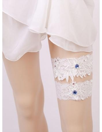 Giarrettiera Sposa due pezzi bianca con strass blu