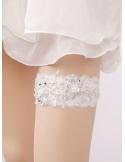 Giarrettiera Sposa particolare con ricami e perline