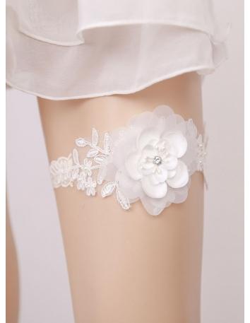 Giarrettiera da Sposa in Pizzo sottile con fiore