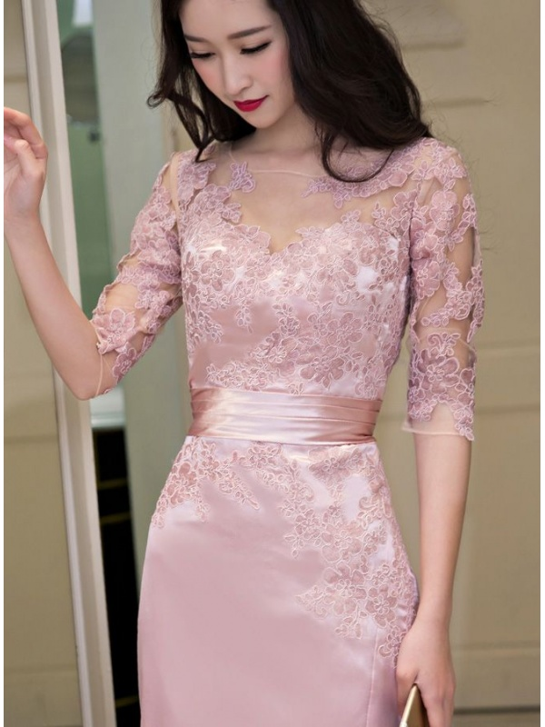 newest e73f8 0ff9a Vestito rosa cipria e pizzo nero – Abiti in pizzo